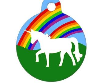 Pet ID Tag - Double Rainbow AND a Unicorn Pet Tag, Dog Tag, Cat Tag