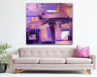 "Large 36"" x 36"" Original Abstract Painting - Contemporary Wall Art Decor - purple pink abstract expressionism - drips"