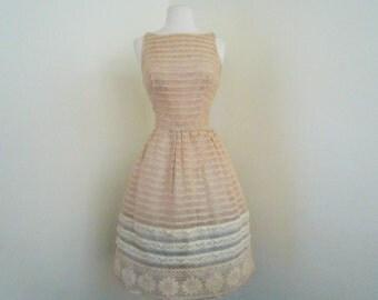 Honeymoon... vintage 1960's Anne Klein for Junior Sophisticates sheer illusion floral lace knit dress