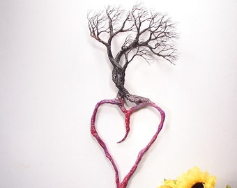 """Wire Tree Of Life, Family Trio Heart sculpture, unique metal wall decor, home or office accent decor, Anniversary, crowsfeathers art, 16"""""""