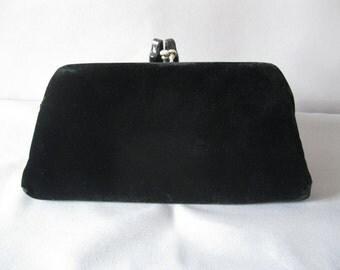 Vintage 60s Evening Purse - Garay Black Velvet Clutch With Rhinestone Closure