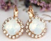 White Opal Earrings, Bridal Rose Gold Earrings, White Opal Drop Earrings, Bridal Earrings, Bridesmaids Earrings, Rose Gold Dangle Earrings