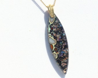 Fused Glass Jewelry, Dichroic Pendant, Dichroic Glass, Organic, River Rock, Pebbles, Elegant, Black with Rainbow Sparkles (Item #10761-P)