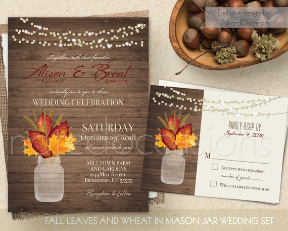 Rustic fall wedding invitation set printable by notedoccasions for Wedding invitations idaho falls
