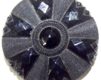Antique Button Medium Victorian Black Lacy glass