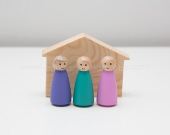 Wooden peg doll girls dollhouse set of 3 hand painted with house - cute girl dolls in pink green and purple pastel childrens toy