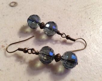 Blue Gray Earrings - Brass Jewelry - Crystal Jewellery - Fashion - Luxe - Chic - Beaded