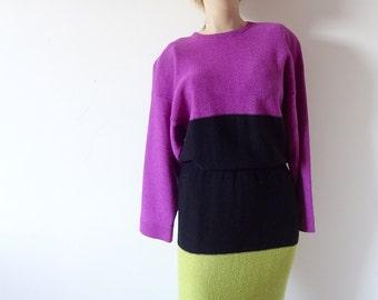 1980s Sweater Dress - Steve Fabrikant knit dress - designer vintage