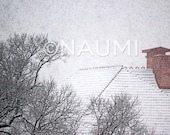 Red chimney, gray snow - soft winter snowfall.  Fine Art Winter photography Archival Print on 100% cotton rag paper -  Snowing night.
