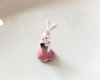 Polymer clay dressed doll miniature white rabbit in pink dress for 1/4 scale dollhouse