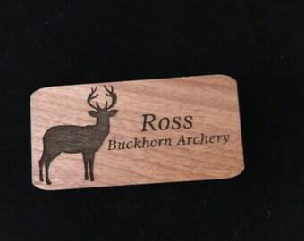 Custom Name Badge Laser Engraved Alder Wood