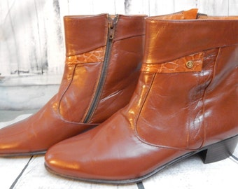 Stunning Vtg~Dead Stock OSCAR ~ BEATNIK~Leather~Boots~Size 40~Croc Accent