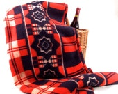 Camp Blanket, Native American Indian Trading Blanket, Rustic Cabin Lodge, Western American, Americana, Red-White-Blue, Vintage Pic-Nic