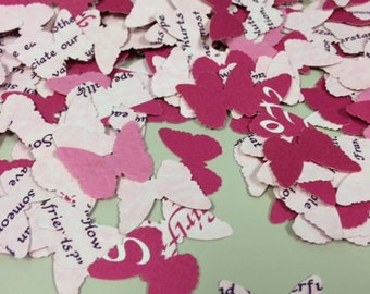 Pink Butterfly Confetti Handmade from Discarded Poetry Book Over 600 Punches -- Rippy Bits by TangoBrat