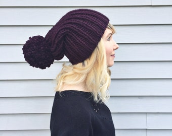 Super Slouchy Pompom Beanie / Chunky Knit Slouchy Hat / Ribbed Womens Winter Hat / Fall Beanie / Purple Slouchy Knit Beanie / Big Pom-pom