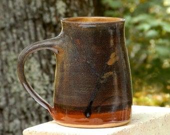 Earthy Brown Mug, 24 oz. Handmade Stoneware,Free Shipping,Microwave friendly