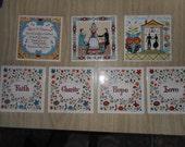 7 Berggren Originals SWEDISH Tiles Scandivavian DECOR Love Hope Faith Charity