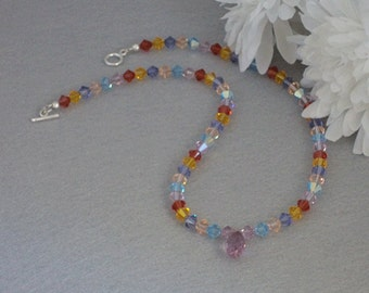 Colorful Swarovski Crystal Necklace With Pendant    FREE SHIPPING
