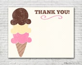 Ice Cream Thank You Card - Instant Download