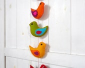 5 colorful felt birds and 5 colorful felt hearts ornaments