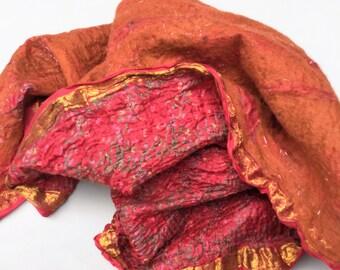 Nuno Felted Scarf Shawl, Boho Gypsy Lagenlook Wearable Fiber Art