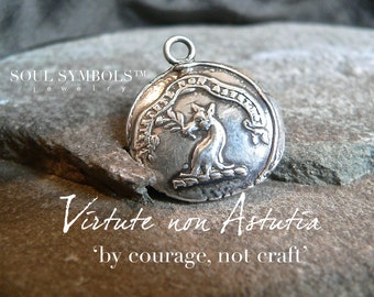 By COURAGE, not CRAFT,  Wax Seal Stamp Pendant Mens Jewelry, Sterling Faithful Dog and Laurel Branch