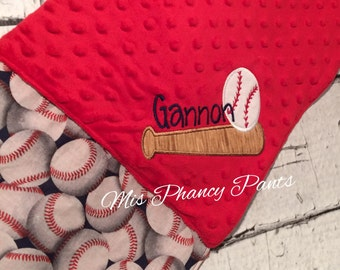 Baby Blanket Baseball Boys Red Navy Personalized Applique