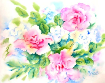 Watercolor Roses, Pink Roses, White Flowers, Romantic Art, Pink and Green, Rose Decor, Love, Art With Heart