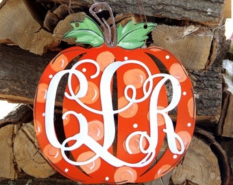 Pumpkin hand painted metal monograms