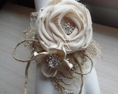 Ready to Ship ~~ Sola Rose Collection, Rustic Chic Burlap & Sola Flower Wrist Corsage with Rhinestones, Bride, MOB, MOG, MOH, Bridesmaid