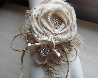 Will ship in 4 weeks ~~ Sola Rose Collection, Rustic Chic Burlap & Sola Flower Wrist Corsage, Bride, MOB, MOG, MOH, Bridesmaid