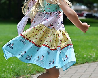 Pastel Three Tiered, Reverse Knot Farmer's Market Dress, Girls Size 6-12 months to 5