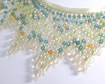 Mediterranean Sands Teal, Mint, Ivory and Tangerine 5.5 Inch Long Beaded Fringe by the yard or half yard