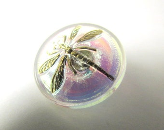 Czech Glass Dragonfly 18mm Button in White Crystal AB aurora borealis with a Gold Dragonfly, metal shank for Jewelry Toggle Clasp or Decor