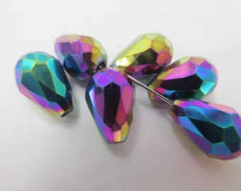 6 Faceted Crystal Teardrops 14mm x 10mm in Peacock Multi with AB and Gold Finish Teardrop Jewelry Beads