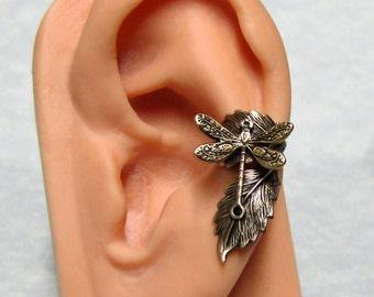 Dragonfly Leaf Ear Cuff