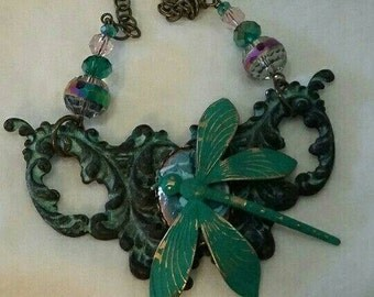 Verdigris Gothic Dragonfly Necklace, Turquoise  Victorian Dragonfly Necklace, Verdigris Victorian Dragonfly, Turquoise Dragonfly Necklace