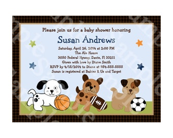 "Personalized/Customized ""Bow Wow Puppy Dog & Sports Buddies"" Printable Baby Shower/Birthday Invitation 5x7 Digital File U Print yourself"