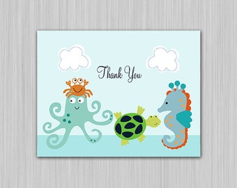 Bubbles & Squirt/Sealife/Octopus/Seahorse/Turtle/Ocean Life/Crab Printable Baby Shower Thank You Card  U Print yourself