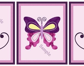 "Set of 3 Unframed ""Butterfly Lane"" 8x10 inch Linen Look Nursery Wall Art Print Decor Baby Children Kids Art"