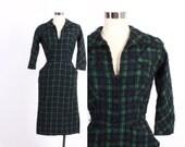 Vintage 50s DRESS / 1950s Tartan PLAID Navy & Green Boucle Wool Wiggle Dress xs - s