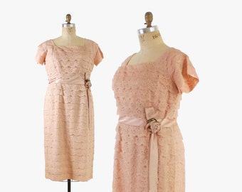 50s Pale PINK Scalloped LACE Wiggle DRESS / 1950s Pastel Pink Party Dress L