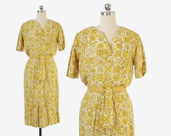 Vintage 50s Day DRESS / 1950s Golden Yellow Floral Silk Tailored Belted Dress XS - S