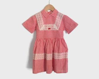 Vintage 50s Girl's Dress / 1950s Little Girl's Red Gingham Check Cotton Dress Kids 5T