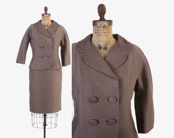 Vintage 50s SUIT / 1950s Taupe Striped Woven Wool Blazer and Pencil Skirt S - M