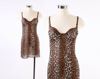 Vintage 60s SLIP / 1960s LEOPARD Print Silky Nylon Vanity Fair Nightgown Nightie with Bra XS S