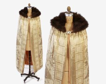 Vintage 20s Gold LAME CAPE / 1920s Floral Nouveau Print & Rhinestone Clasp Fur Collar Cloak