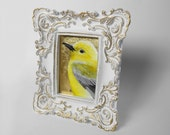 Prothonotary Warbler painting - yellow bird wildlife art - metallic gold - yellow songbird - framed art - fancy french provincial frame