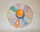 Cute dresden plate vintage quilt block candle mat, place mat,  flower vase mat, mug rug, mini quilt, table runner, farmhouse or cottage