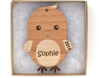 Chick Christmas Ornament, Farm Animal Ornament, Personalized Wood Animal Ornament, Custom Engraved Ornament, Wood Gift Tag